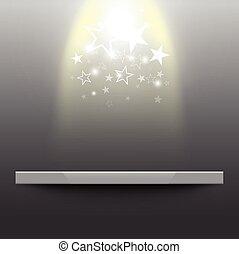 polc, csillagfényes, üres