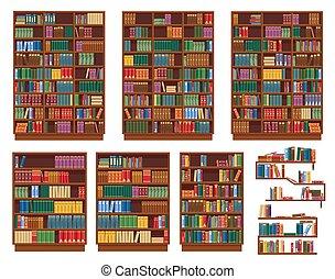 polc, könyvtár, könyvespolc, könyvszekrény, előjegyez