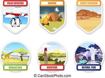 pole., kempingezés, park., pack., hills., exloration, elem, lakás, tervezés elpirul, hiking., nemzeti, grafikus, antarktisz, set., gyorsaság, idegenforgalom, déli, hegy, karikatúra, jelvény, vektor, utazás, böllér, elszigetelt