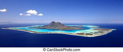 polinézia, day., felül, kilátás, tele, nászút, lagúna, felhőtlen, rendeltetési hely, bóra, első, francia