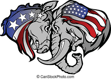 politikai, szamár, carto, elefánt