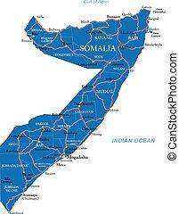 politikai, szomália, térkép