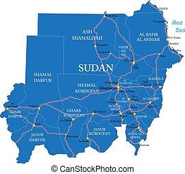politikai, szudán, térkép