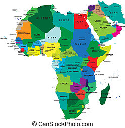politikai, térkép, afrika
