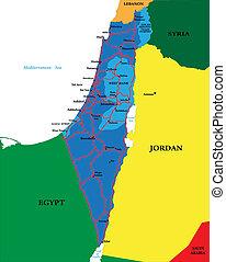 politikai, térkép, izrael