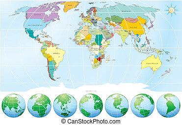 politikai, térkép, világ