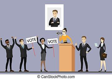 politikus, kampány, álló, tribün, jelölt, választás