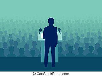 politikus, tolong, emberek, nagy, vektor, üzletember, vagy, beszélő