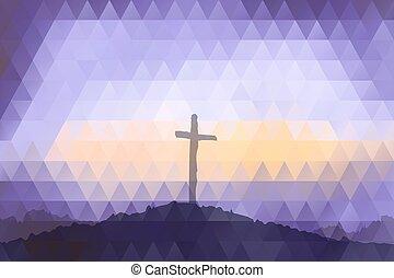 polygonal, design., színhely, húsvét, cross., christ., jézus
