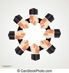 polygonal, karika, kéz, közösség, aláír