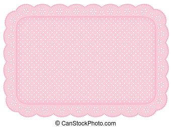 pont, gyékényszőnyeg, állás, befűz, szalvéta, polka, rózsaszínű