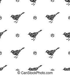 pont, kéz, madár, húzott, black háttér, seamless, elvont, motívum, egyenes, alakít