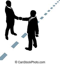 pontozott, ügy emberek, kézrázás, egyenes, egyetért