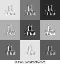 popart-style, cégtábla., grayscale, változat, vector., icon., pocsolya, úszás