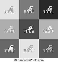 popart-style, cégtábla., grayscale, víz, változat, vector., icon., sport, úszás