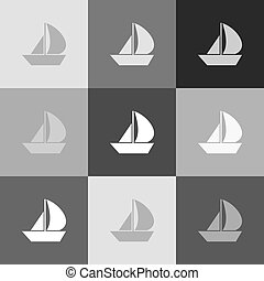 popart-style, cégtábla., vitorlázik, grayscale, változat, vector., icon., csónakázik
