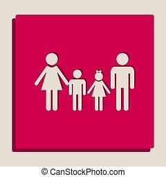 popart-style, család, cégtábla., grayscale, változat, vector., icon.