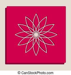 popart-style, virág, cégtábla., grayscale, változat, vector., icon.