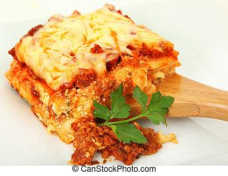 porció, felszolgálás, lasagna, kanál