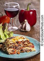 porció, lasagna, tányér