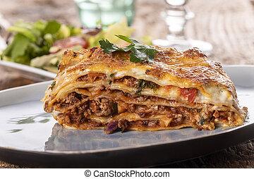 porció, tányér, lasagna
