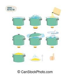porridge., főzés, instruction., állhatatos, infographics, ikonok