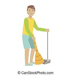 porrongy, seprű, emelet, feláll, tiding, felnőtt, betűk, elsöprő változás, pasas, karikatúra, takarítás