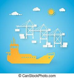port., rakomány, berakodás, kikötő, hajózás, dolgozat, elvág, vektor, dock., ábra, hajó