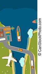 port., teherárú csónakázik, útvonal, kikötő, hajó, dokk, daru, repülőgép, tenger
