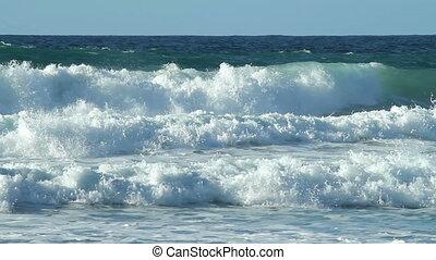 porthtowan, víz, fehér, hullámtörés, waves.