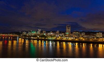 portland, belvárosi, cityscape, oregon