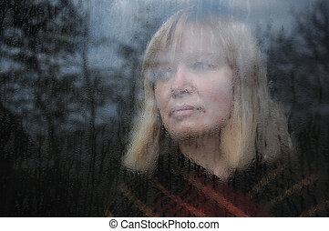 portré, ablak, nő, át