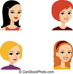 portré, avatar, nő, sorozat