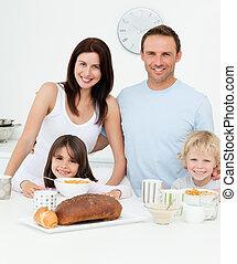 portré, birtoklás, konyha, reggeli, együtt, család