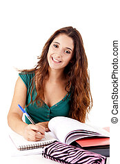 portré, boldog, fiatal, diák