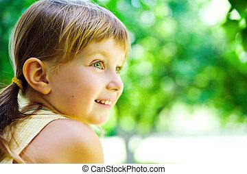 portré, boldog, gyermek