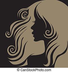 portré, closeup woman, vektor