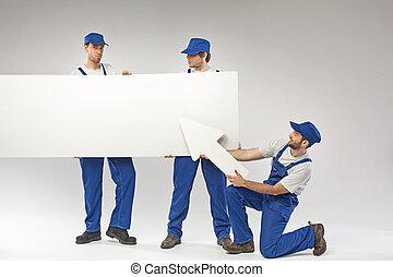 portré, dolgozók, három