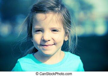 portré, elvág, boldog, gyermek