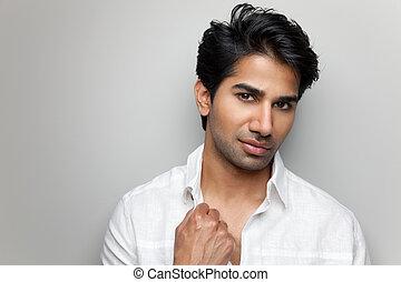 portré, ember, jelentékeny, indiai