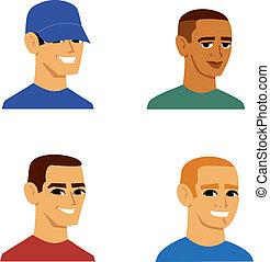 portré, férfiak, avatar, karikatúra