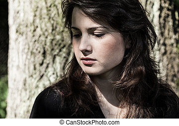portré, fiatal, nő, bús