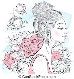 portré, gyönyörű woman