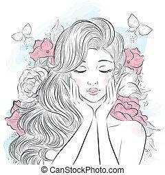 portré, gyönyörű woman, fiatal