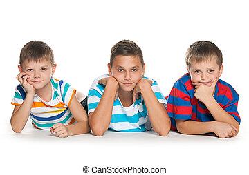 portré, gyerekek, három