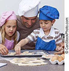 portré, gyerekek, konyha, atya, sülő