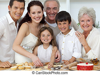 portré, gyerekek, konyha, szülők, sülő, nagyszülők, boldog