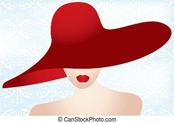 portré, hölgy, piros kalap