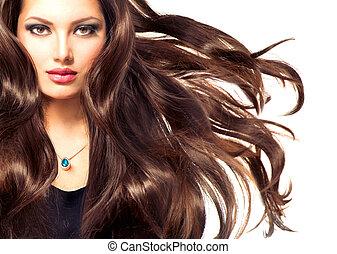 portré, hosszú, leány, haj, fújás, formál, mód