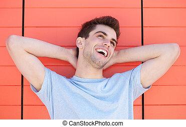 portré, jelentékeny, ember, fiatal, nevető